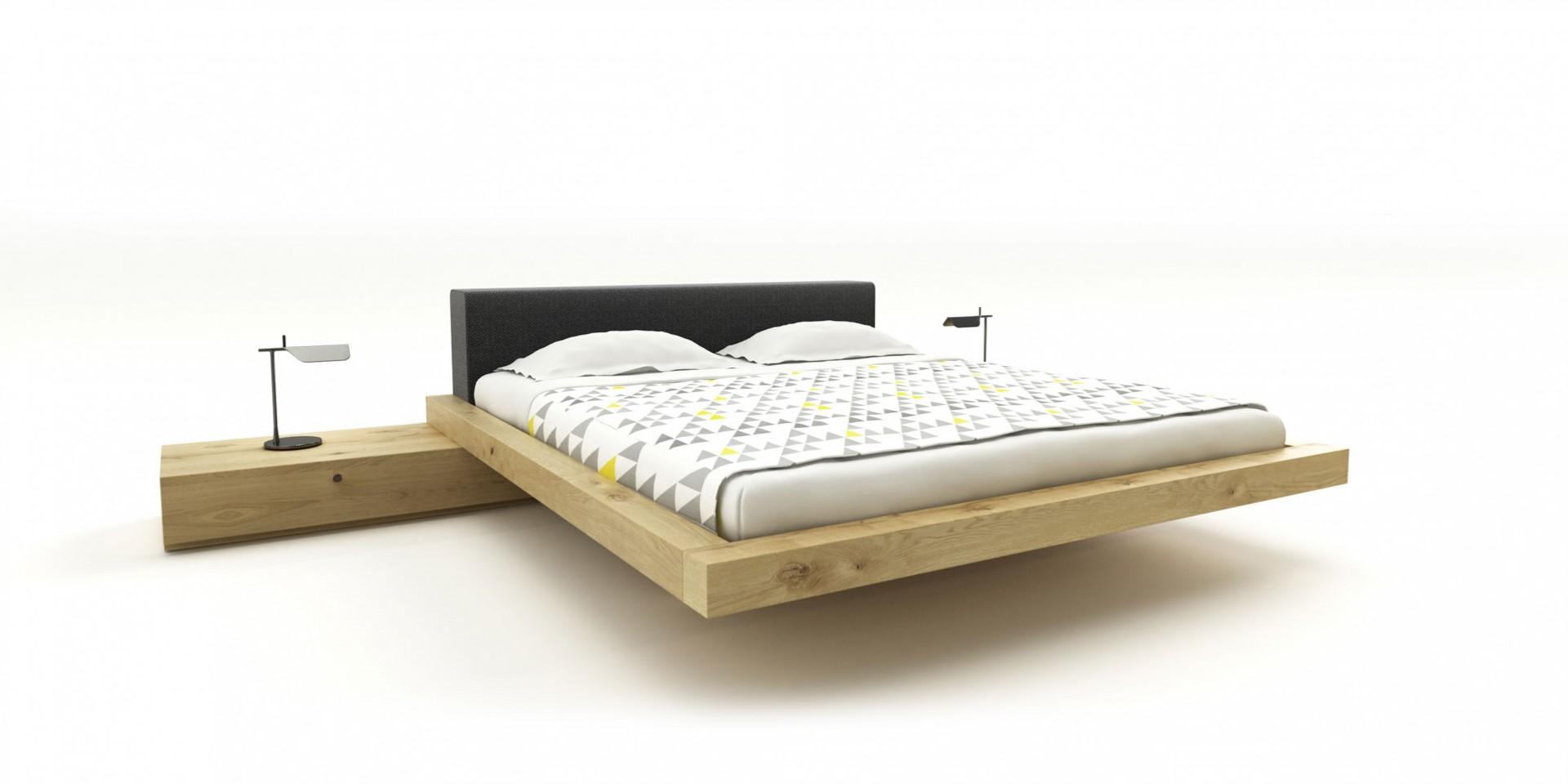 posteľ way z masívneho dubového dreva s látkovým čalúneným čelom, masívna drevená posteľ, dubová posteľ