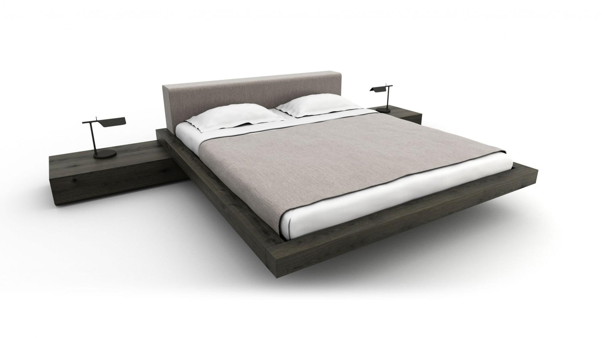 posteľ way z masívneho dubového dreva s látkovým čalúneným čelom, masívna dubová posteľ, moderná dubová posteľ, dubova posteľ s čalúneným čelom