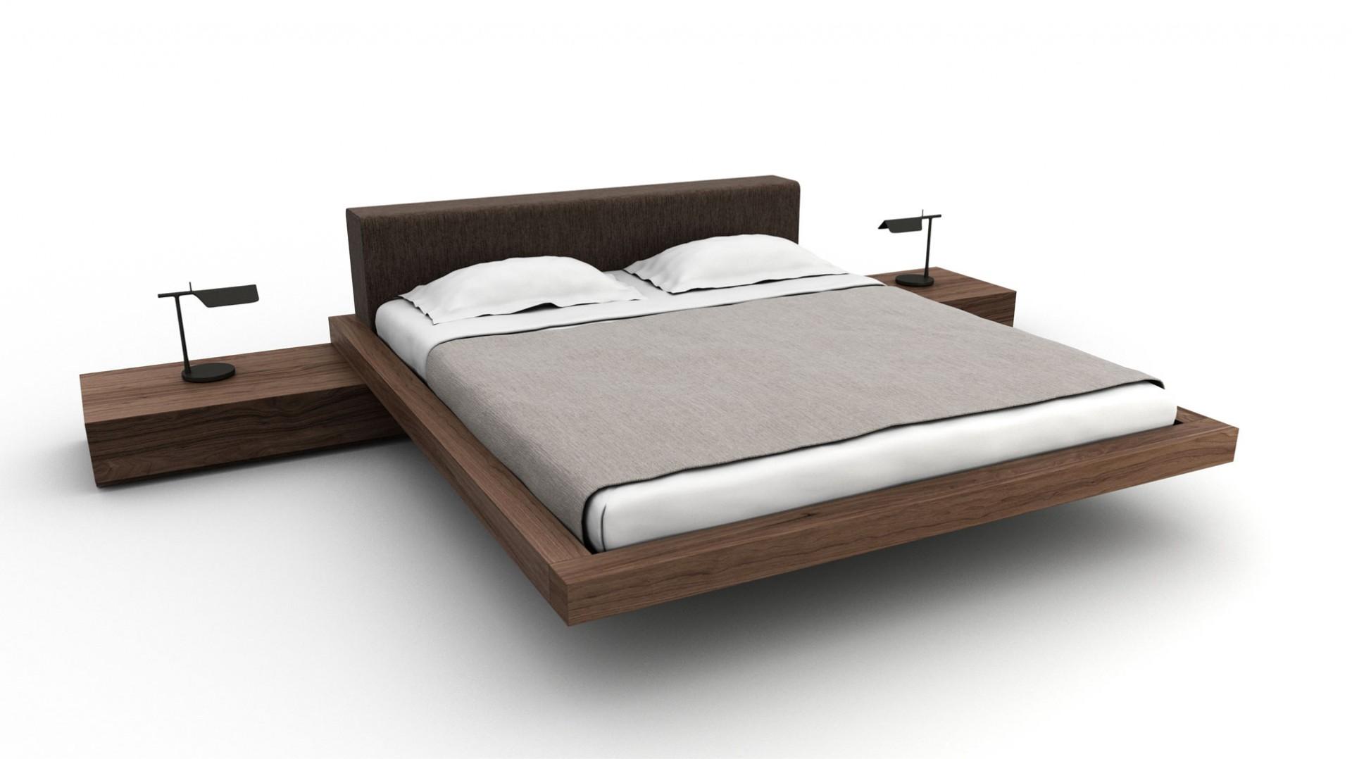 posteľ way z masívneho orechového dreva s látkovým čalúneným čelom, masívna orechová posteľ, moderná orechová posteľ, orechová posteľ s čalúneným čelom