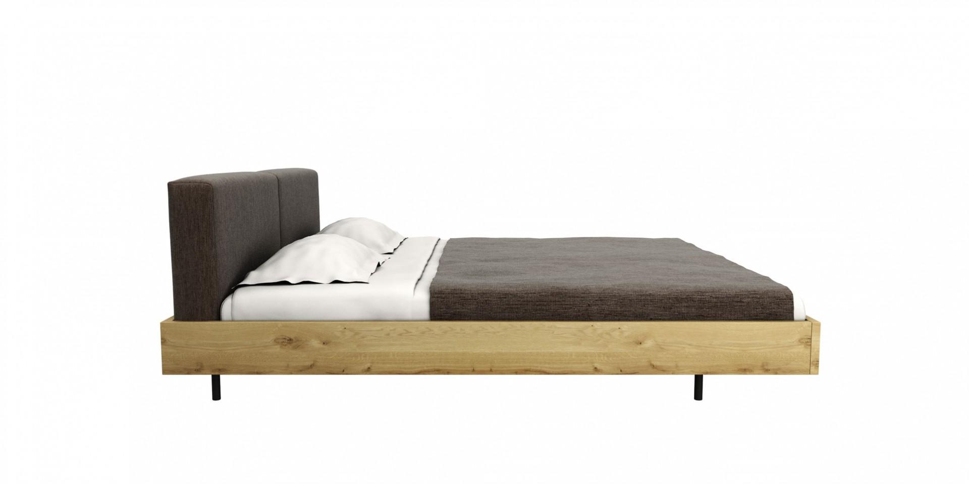 posteľ SAN z masívneho dubového dreva s látkovým čalúneným čelom, masívna drevená posteľ, dubová posteľ