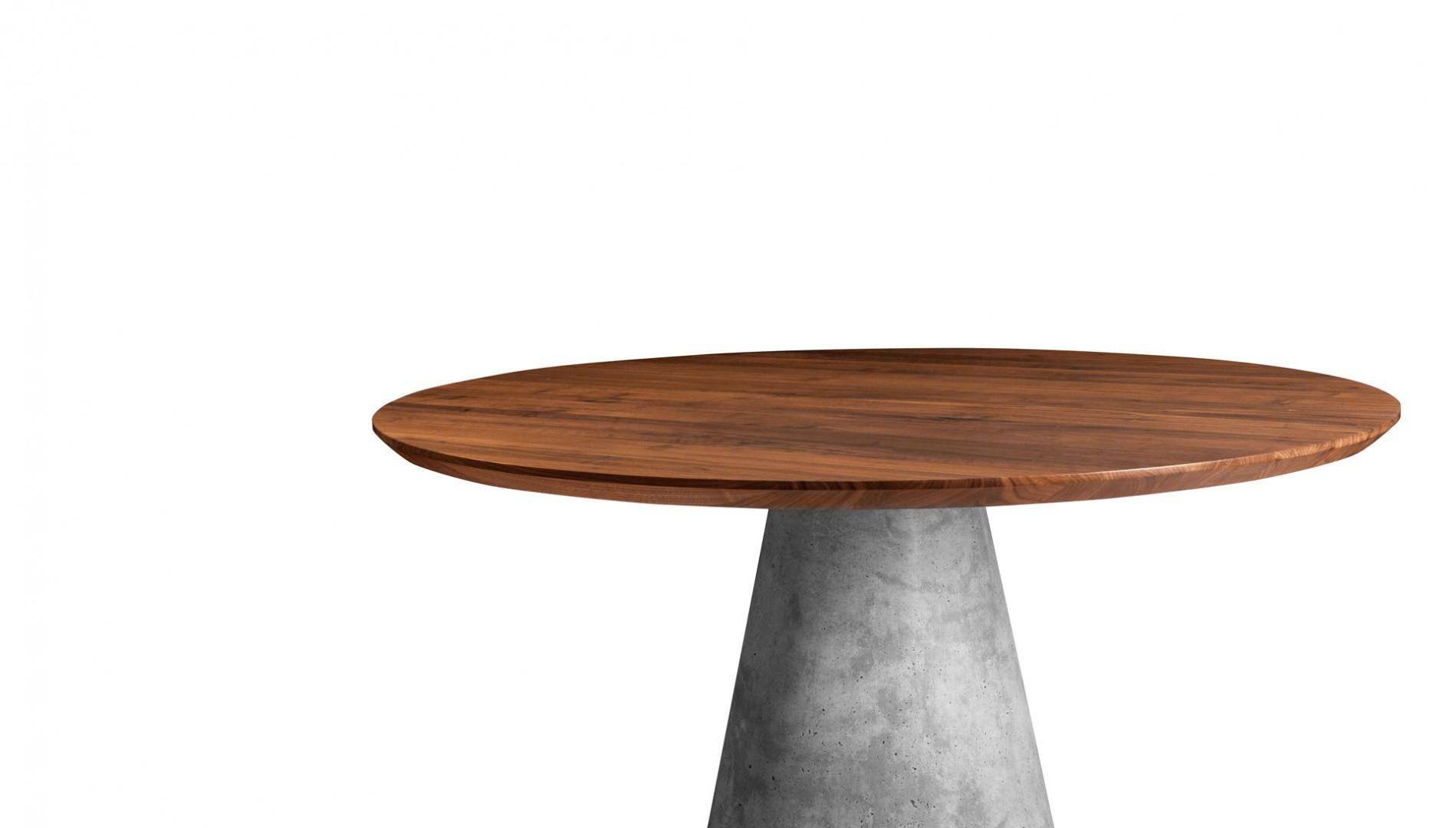 okrúhly jedálenský stôl TAP z masívneho dreva s betónovou podnožou, dubový okrúhly stôl, masívny okrúhly stôl