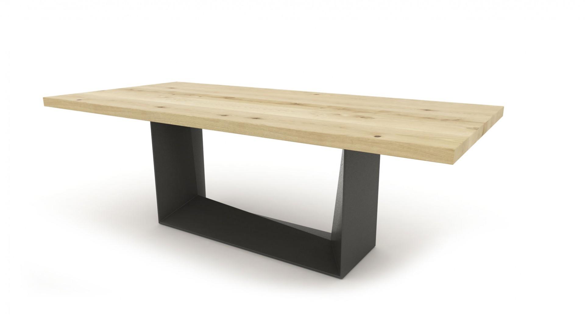 Jedálenský stôl MATE, masívny dub + čierna oceľ, jedálenský stôl z masívneho dreva, masívny dubový stôl, masívny drevený stôl cubica