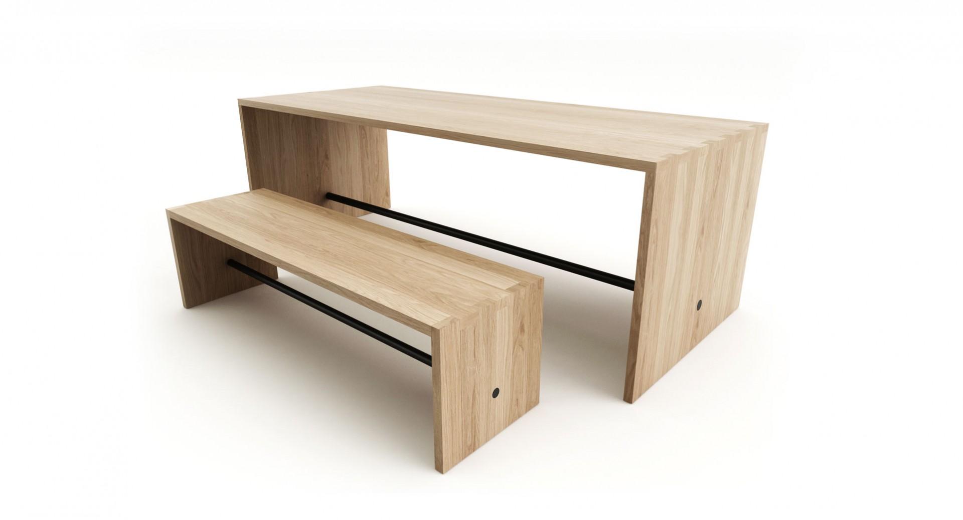 Masívny jedálenský stôl PLAN z dubového dreva, dubový minimalistický stôl, masívny dubový jedálenský stôl