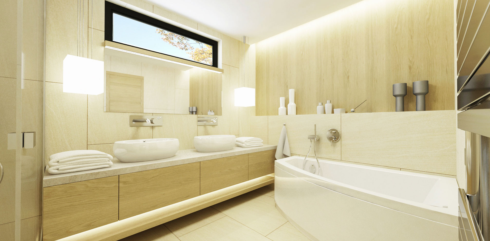 návrh interiéru rodinného domu - kúpeľňa