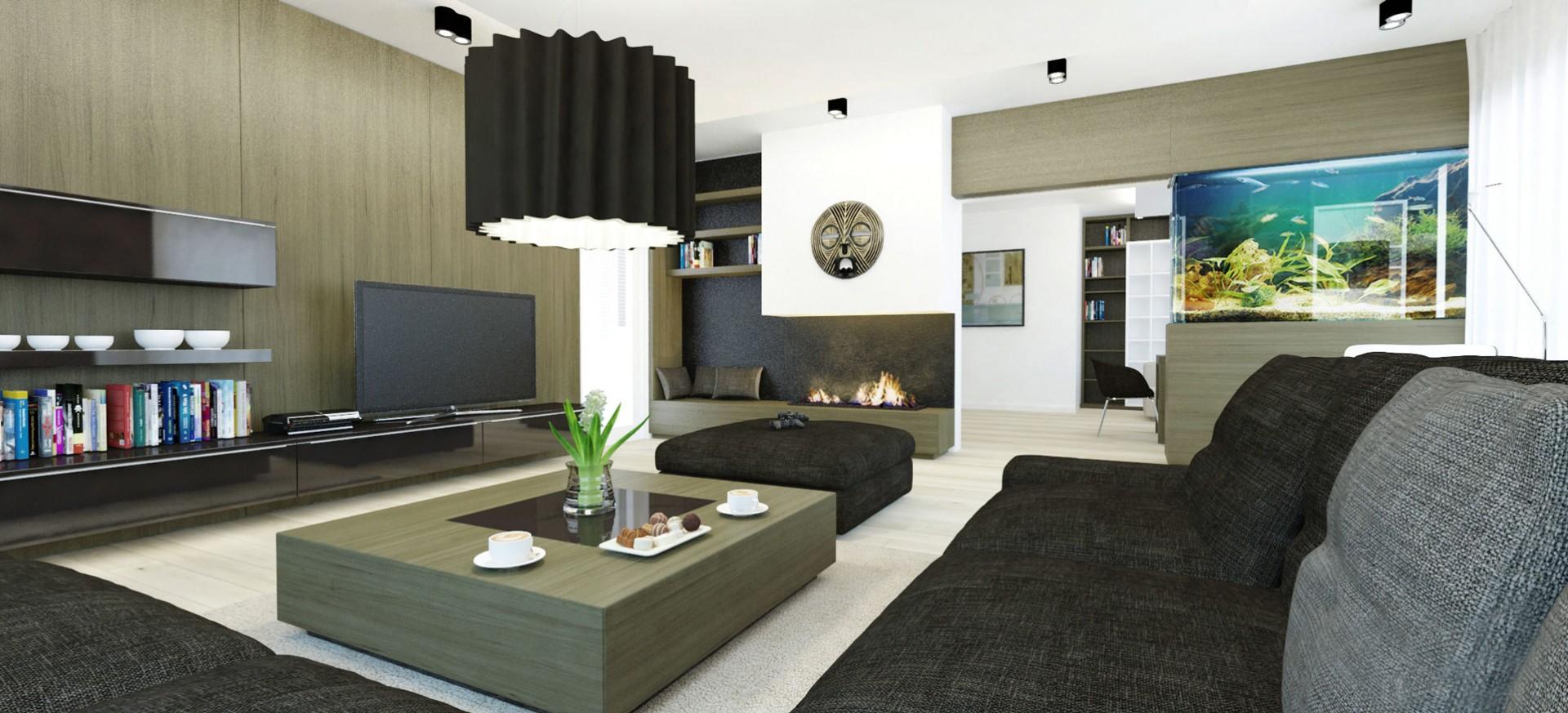 návrh interiéru obývačky s krbom a akváriom