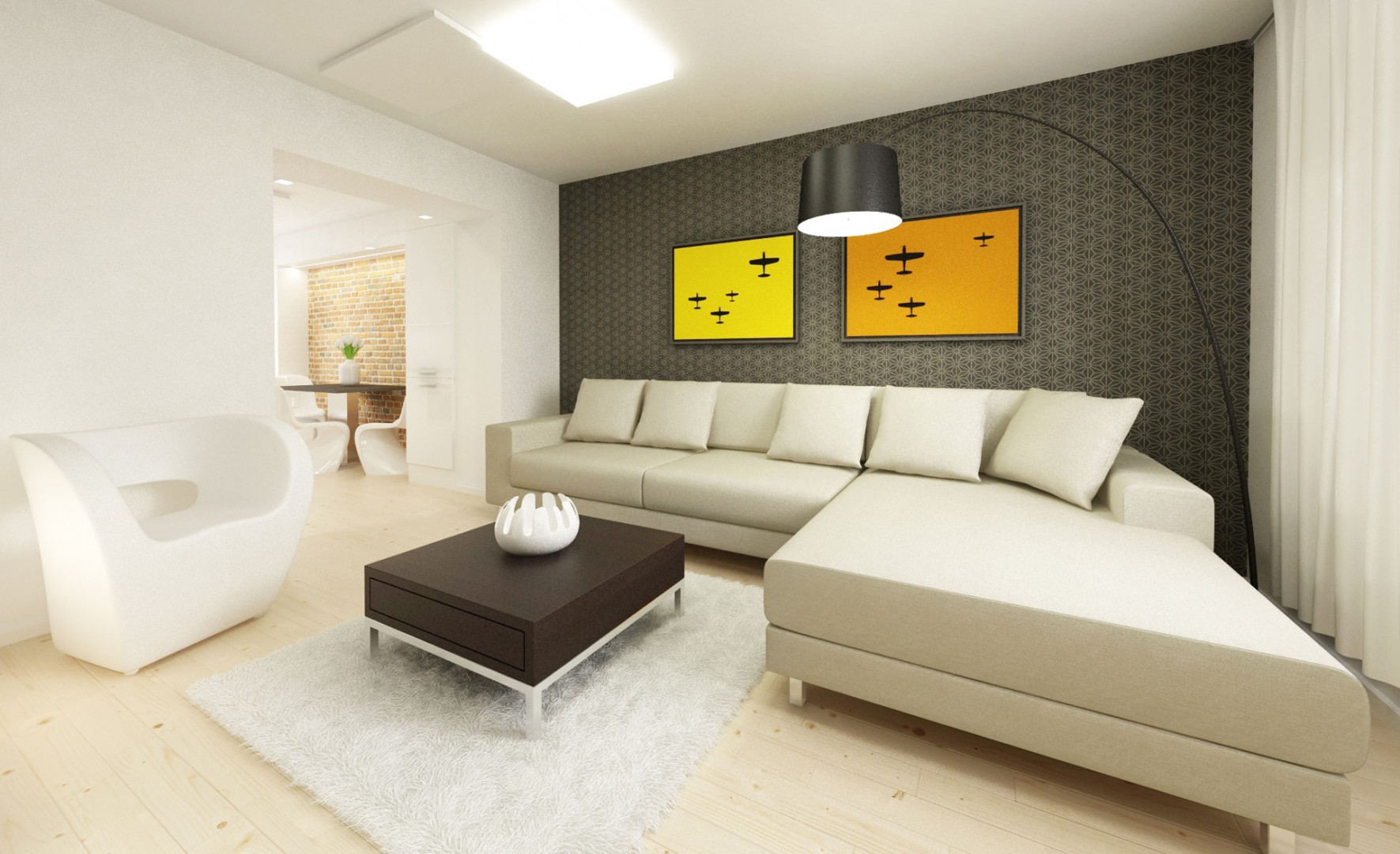 návrh interiéru bytu - obývačka