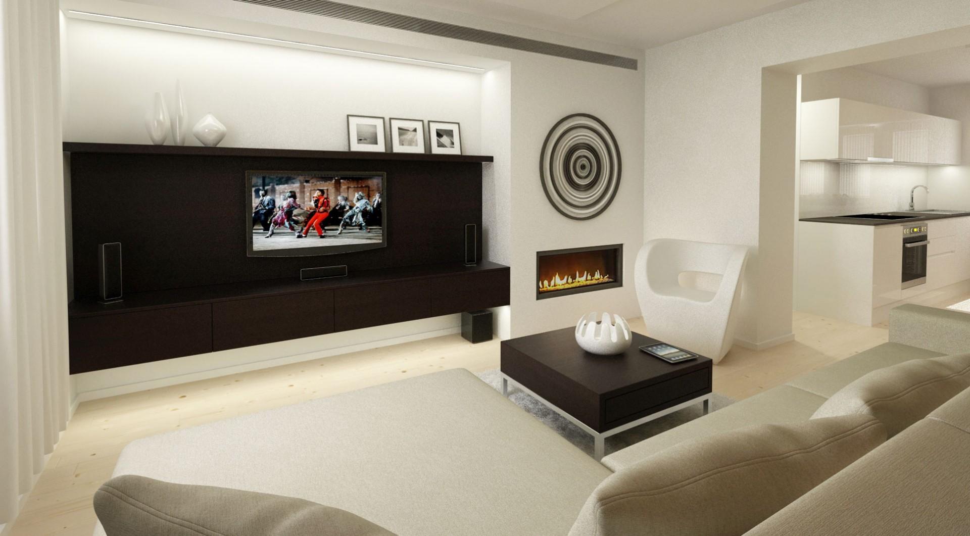 návrh interiéru bytu - obývačka s biokrbom