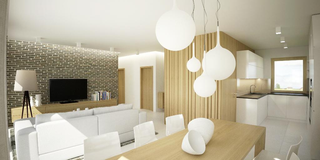 Návrh interiéru domu - kuchyňa a jedáleň
