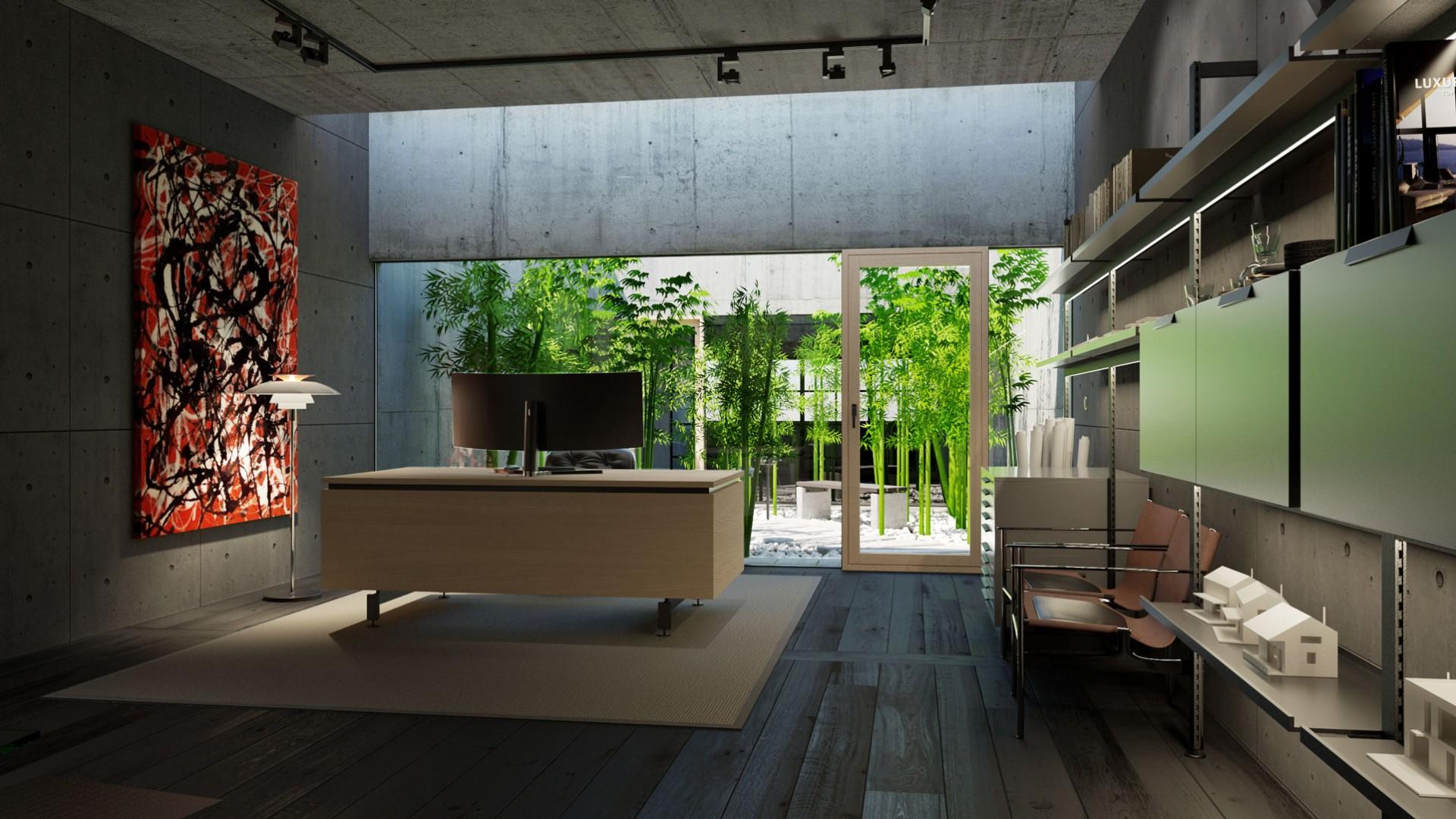 Návrh interiéru domácej pracovne s pátiom , design pracovne, moderná pracovňa, domáca pracovňa