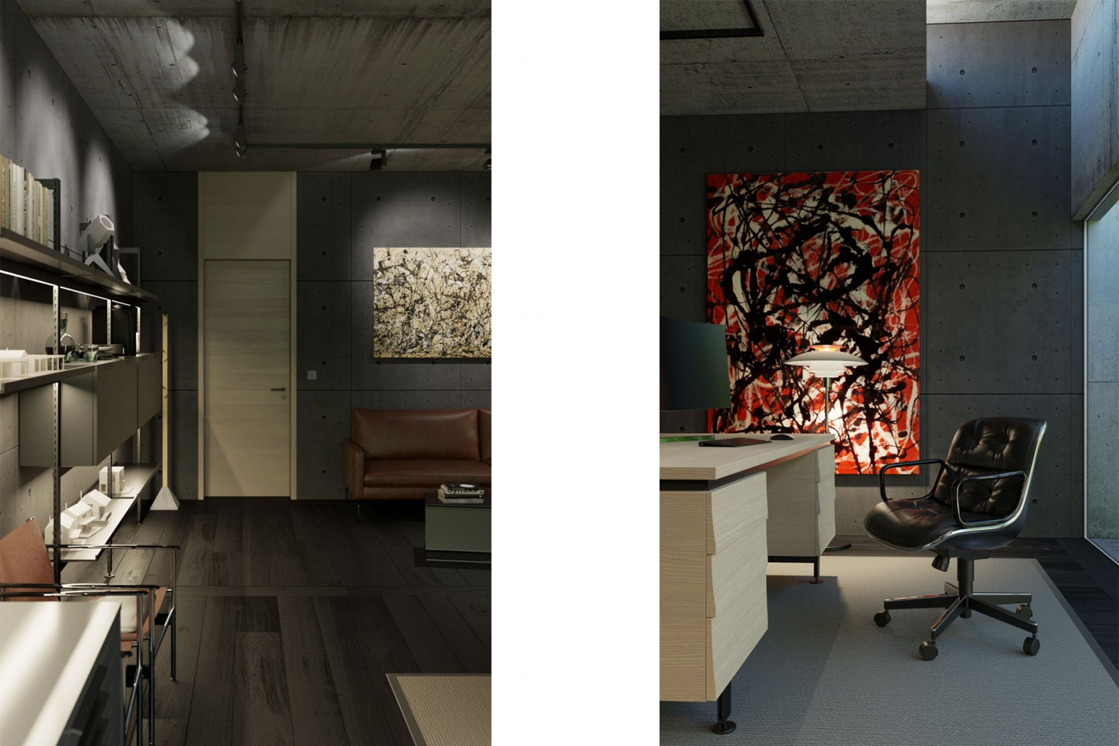 Návrh interiéru domácej pracovne s pátiom , design pracovne, moderná pracovňa, domáca pracovňa, luxusná pracovňa