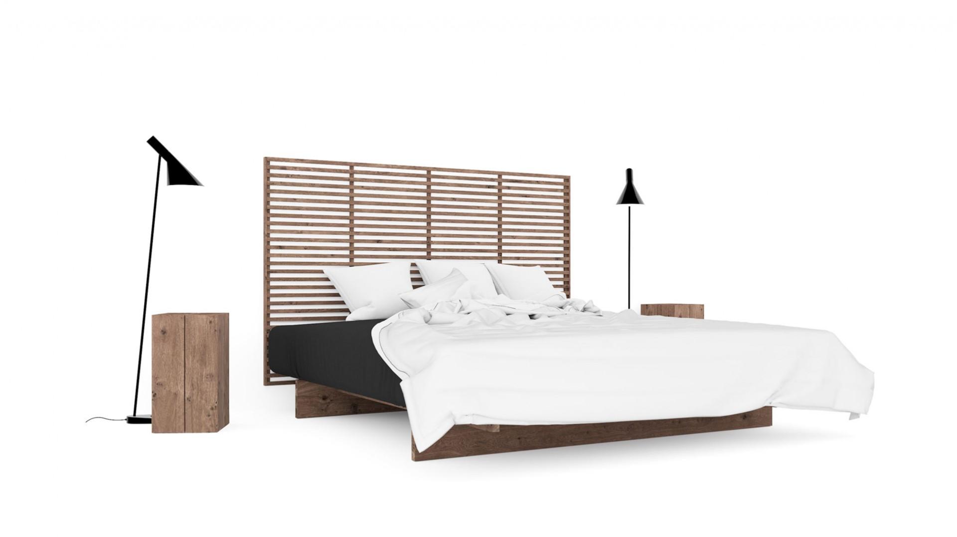 posteľ raam z tmavého masívneho dubového dreva s vysokým čelom
