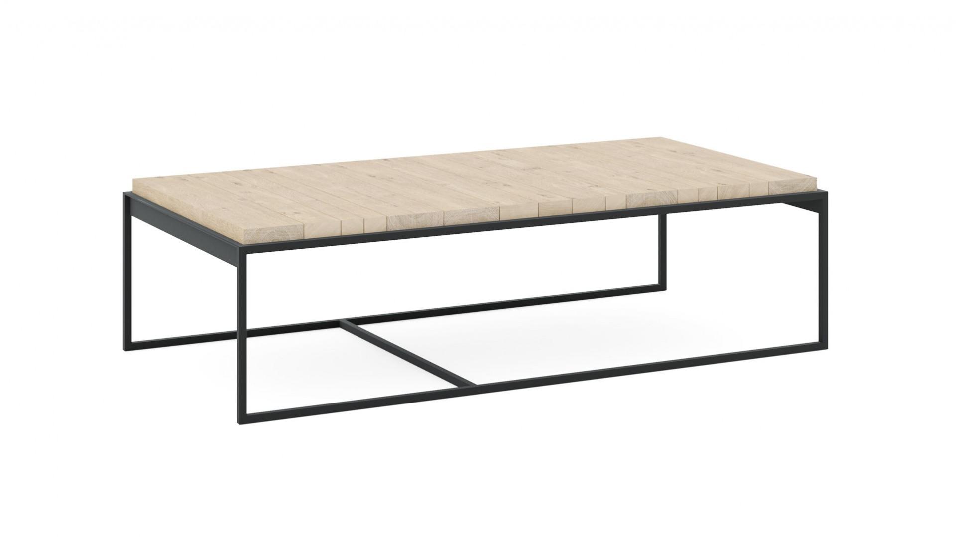 Konferenčný stolík K1 z masívneho dubového dreva a čiernej ocele
