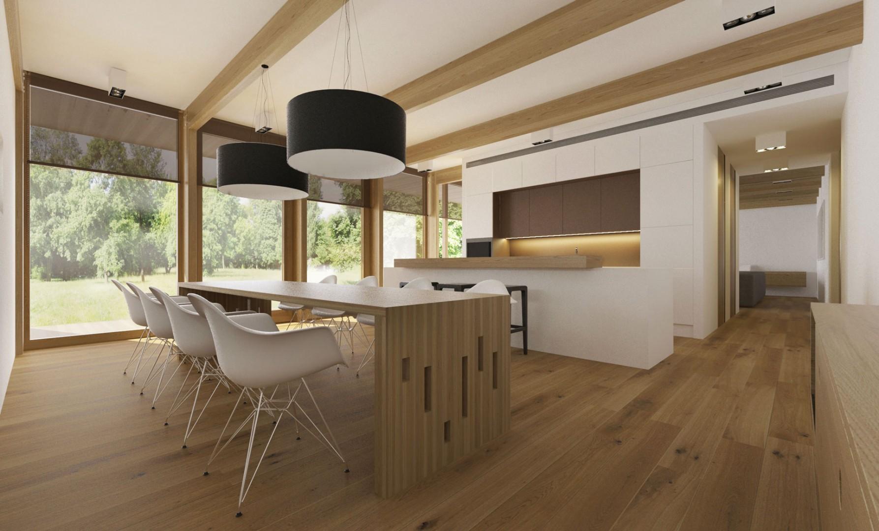 Návrh interiéru moderného drevodomu v Banskej Bystrici. Design interiéru drevostavby.