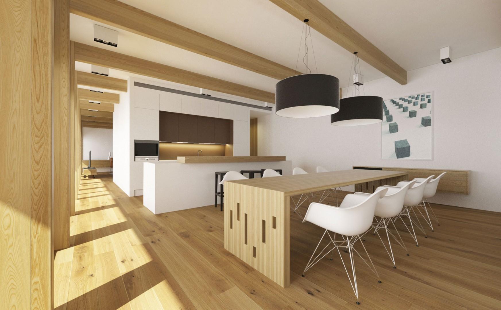Návrh interiéru modernej drevostavby v Banskej Bystrici.