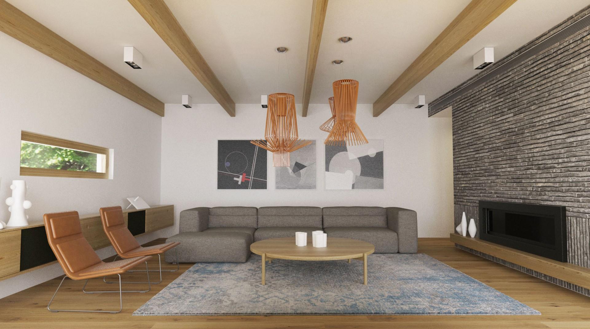 Návrh interiéru moderného drevodomu v Banskej Bystrici.
